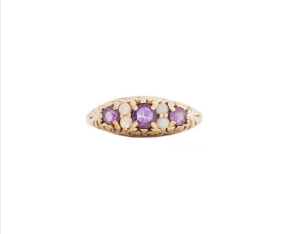 Fox and Bond 9k Yellow Gold Amethyst and Pearl English Ring.