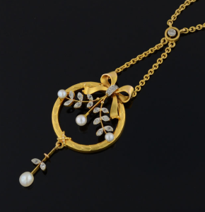 Vintage 14k Gold Pearl & Diamond Necklace