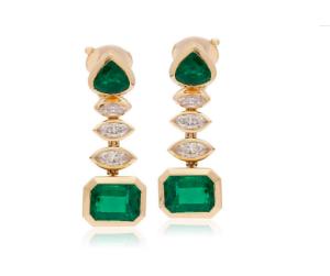 Estate Emerald and Diamond Statement Earrings