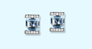 Blue Topaz, Diamond, and White Gold Studs from Jane Taylor Jewelry