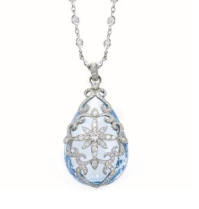 Erica Courtney Aqua Pendant Set In Platinum with Diamonds.