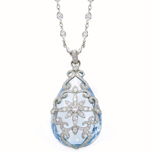 Erica Courtney Aqua Pendant Set In Platinum with Diamonds.