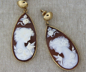Cameo Hardstone 14k Teardrop earrings from Donegal Jewelers.
