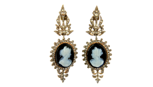 French Louis Phillipe Era Onyx and Rose Cut Diamond Cameo Earrings sold by Past Era