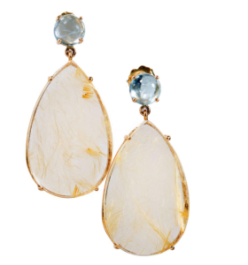 Peter Suchy Rutilated Quartz and Aquamarine earrings in 18k Yellow Gold