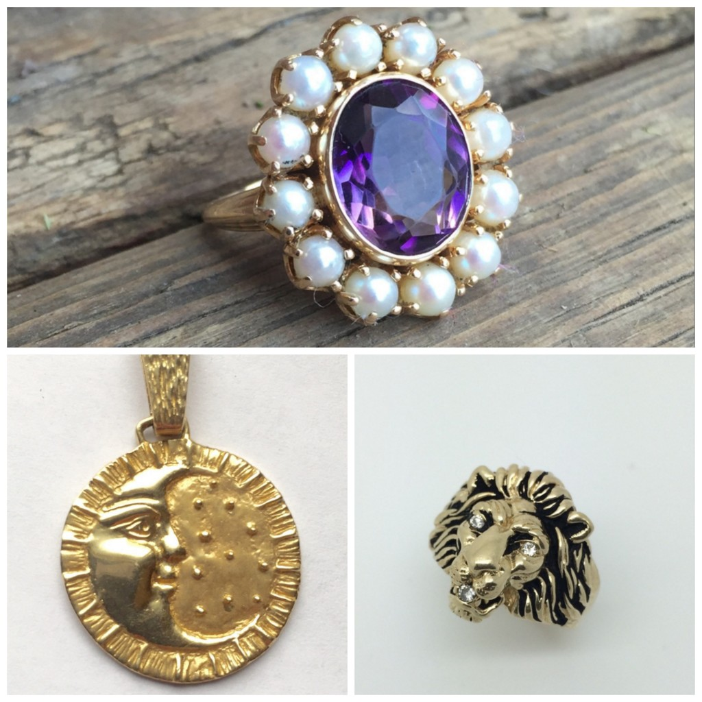 Clockwise from Top; 14k Amethyst and seed pearl ring, 10K Lion ring, and 14k Man in the moon and starts pendant.