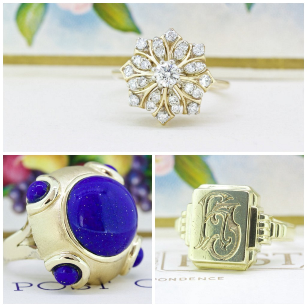 Clockwise from top Diamond and gold engagement/cocktail ring, gold signet ring, gold and lapis lazuli ring, all available from Fergusons Fine Jewelry Etsy Shop.
