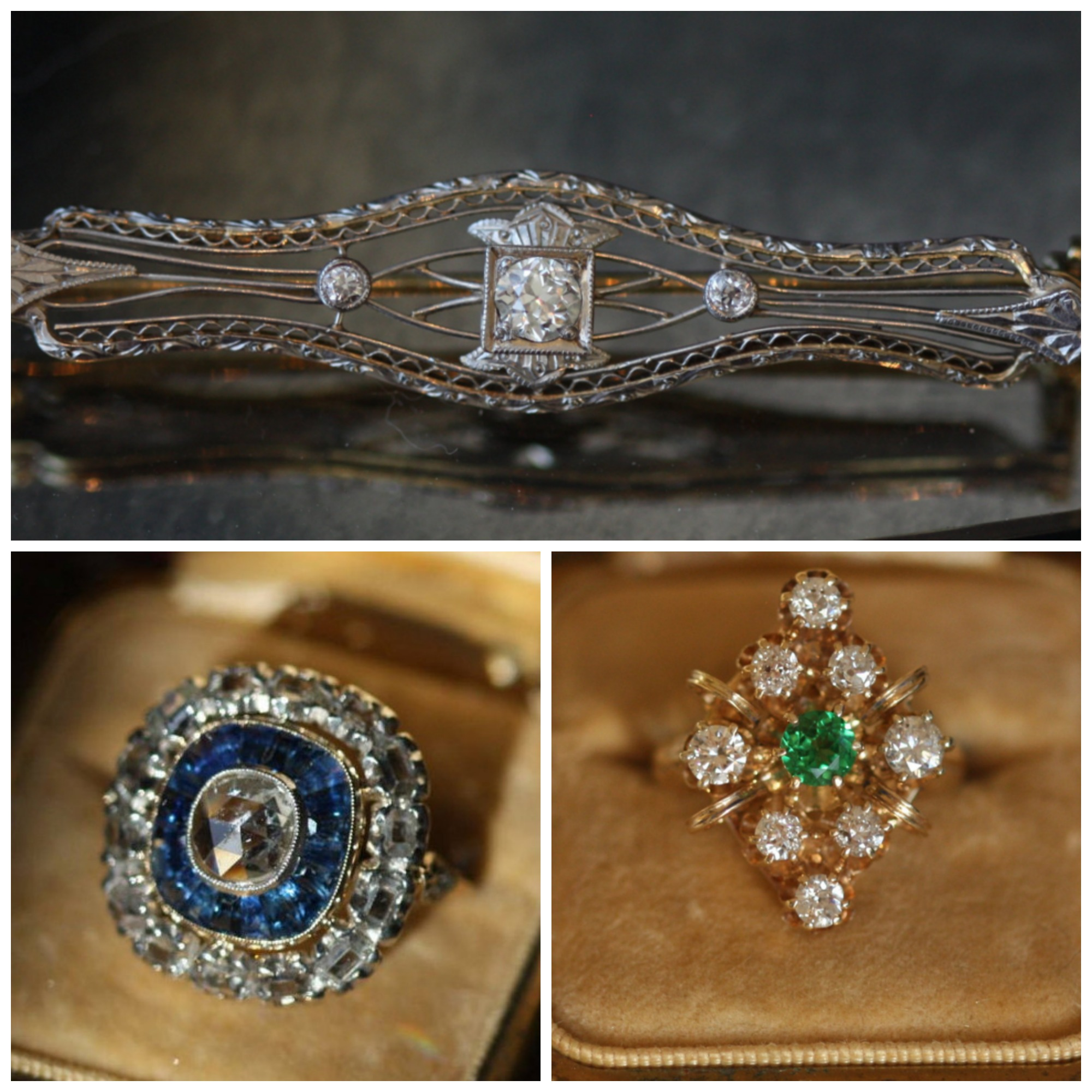 From top; White gold Bar brooch, Rose cut sapphire and diamond ring, and old cut diamond and Tsavorite ring. All available from Gilded Lane.
