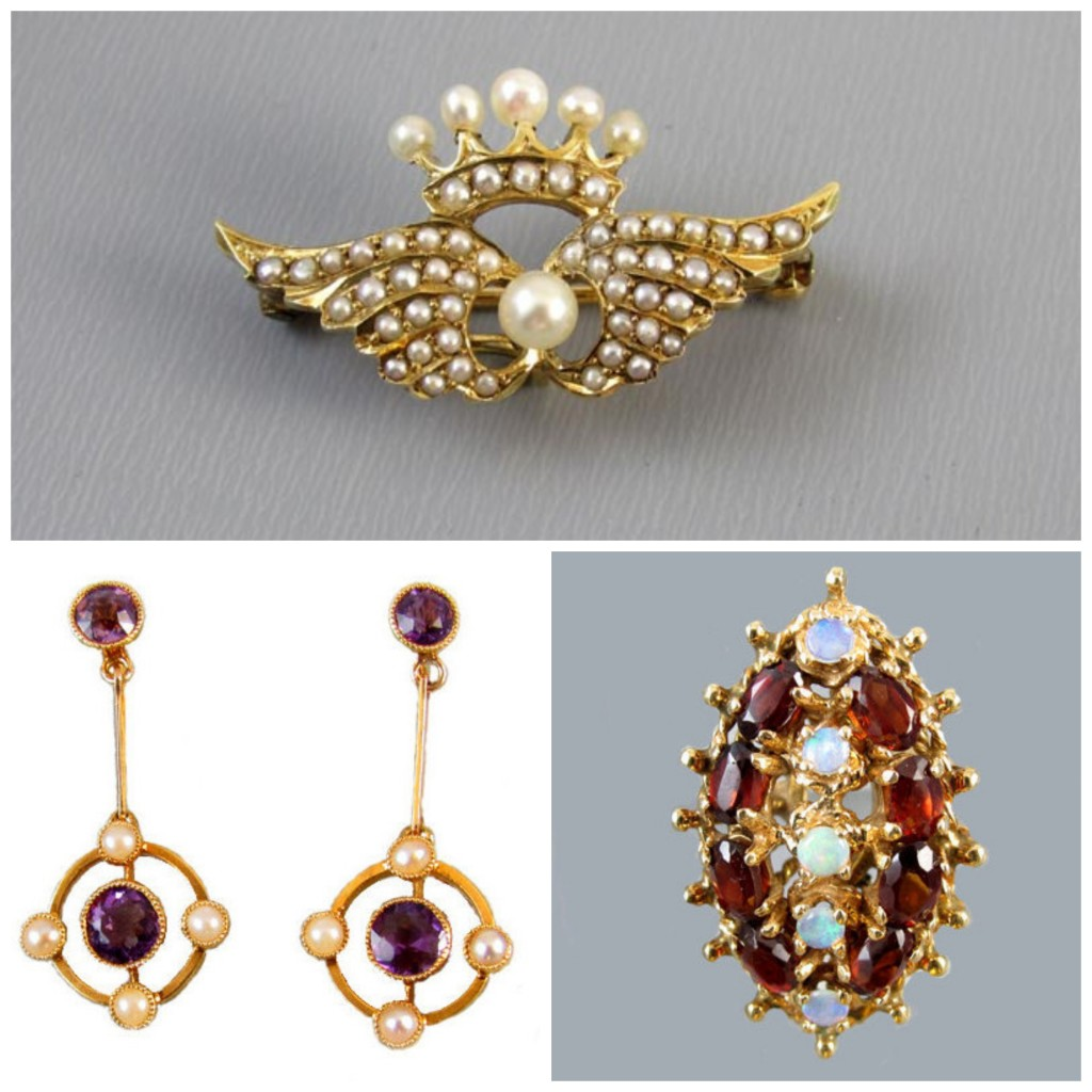 Clockwise from top; Seed Pearl Brooch and Pendant watch pin, Garnet and opal Cocktail ring, Amethyst and pearl earrings, all available from Sunday and Sunday.