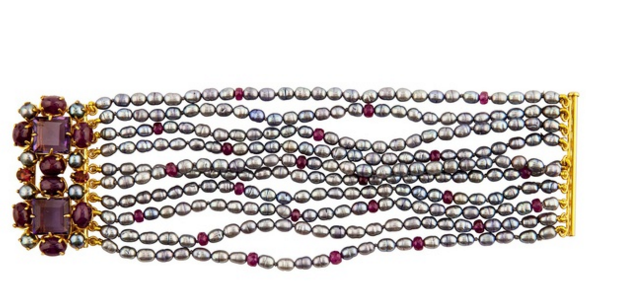 Silver Rice Pearl, Grey Pearl, Amethyst, Ruby & Tourmaline Bracelet by Bounkit.