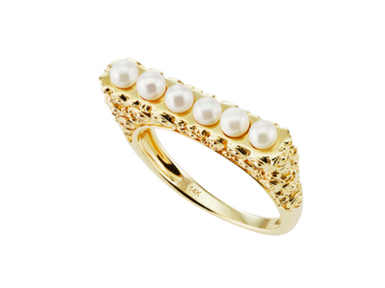 Slim Bar Ring with Pearls by Jane Taylor Jewelry