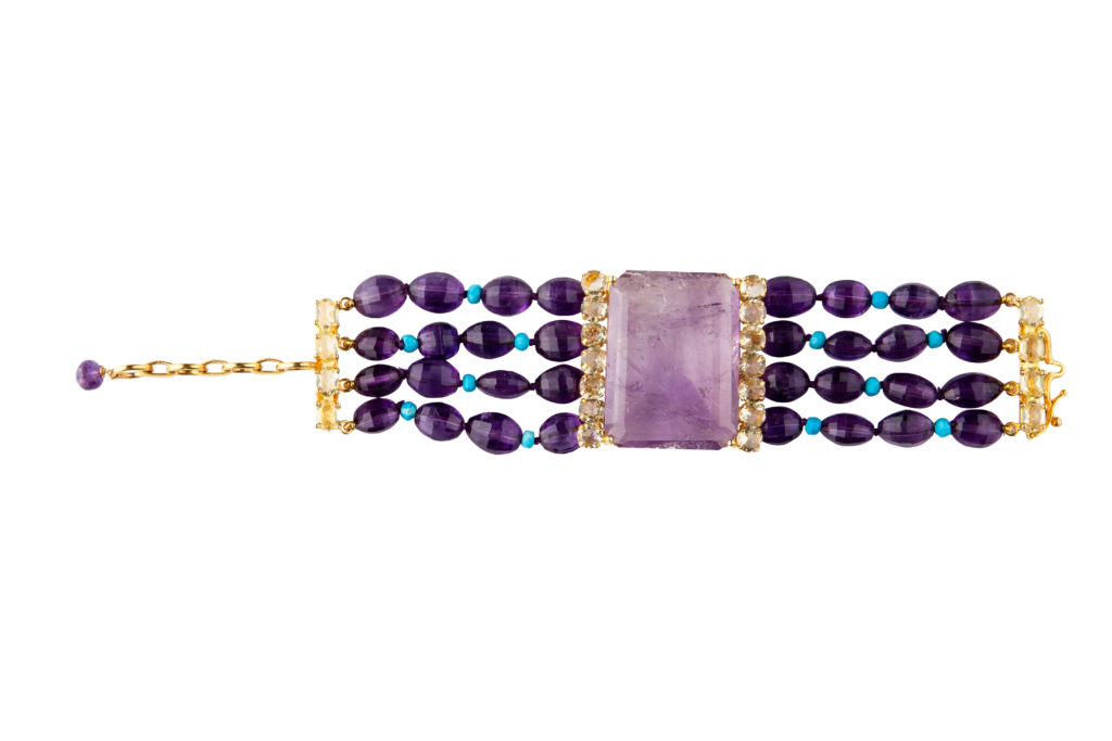 Amethyst, Turquoise, and Citrine Bracelet by Bounkit NYC