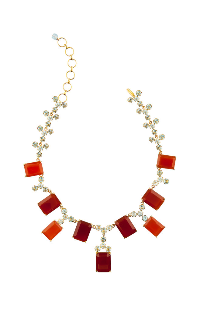 Carnelian and Blue Quartz Necklace by Bounkit