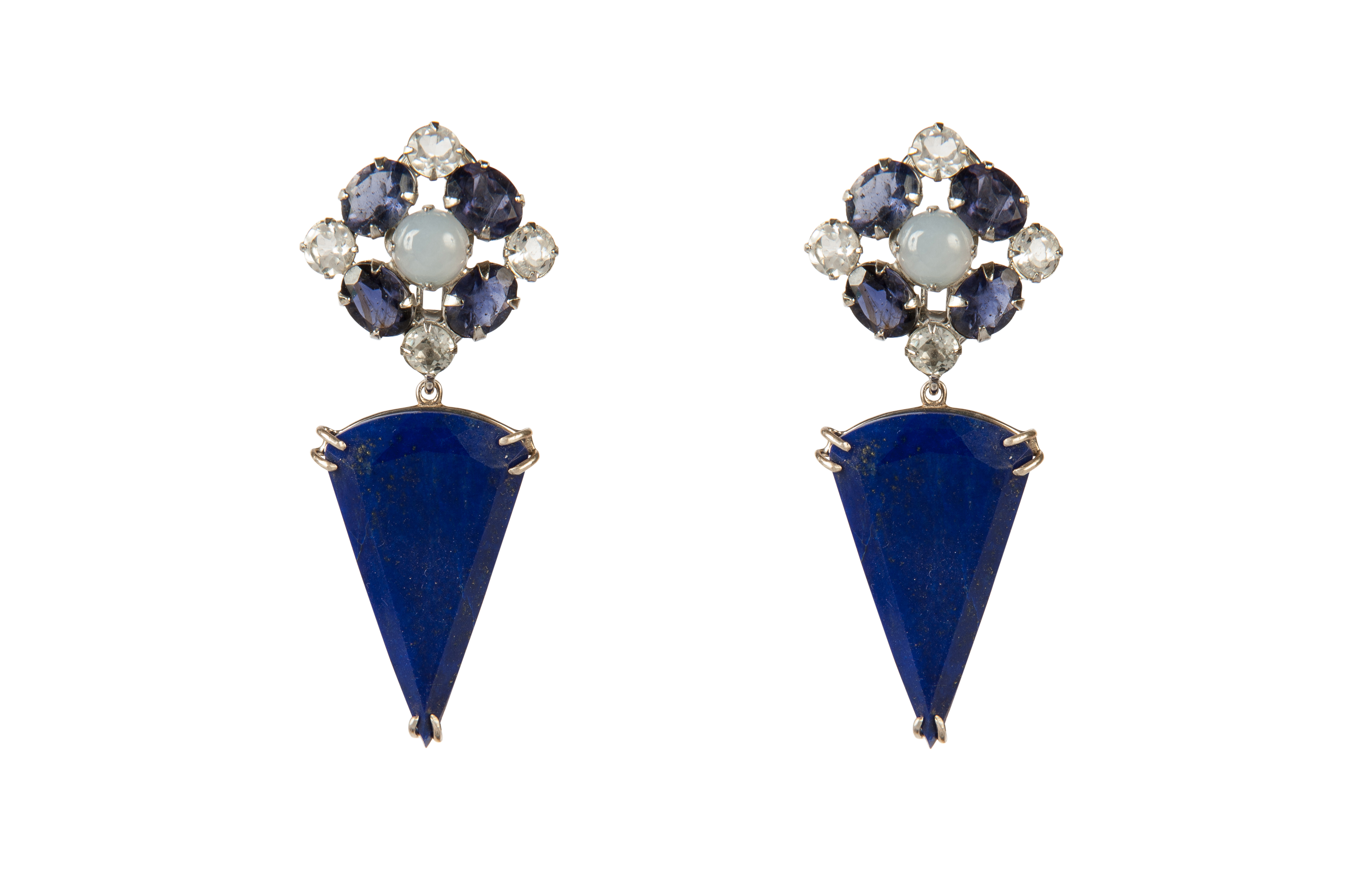 Chalcedony, Iolite and Lapis Convertible Earrings