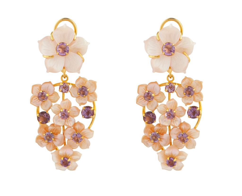 Amethyst and Pink Mother of Pearl Floral Convertible Earrings by Bounkit NYC