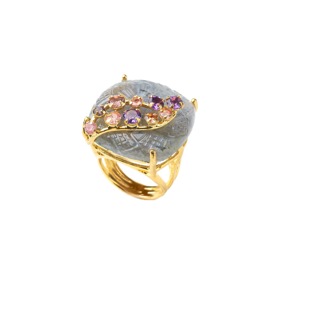 Carved Labradorite and Amethyst Ring by Bounkit NYC