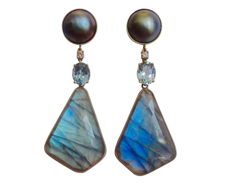 Dark Grey Mobe Pearls with labradorite slices and aquamarines by Michael K