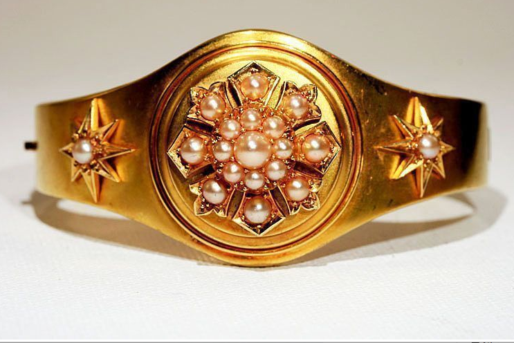 18k Antique Victorian Pink Gold Pearl Bracelet