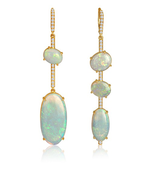 Asymmetric Opal earrings set in 18K rose gold accented by Pave set diamonds. By Lisa Nik