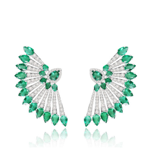 Emerald and Diamond Fan Earrings. Designer: Sutra