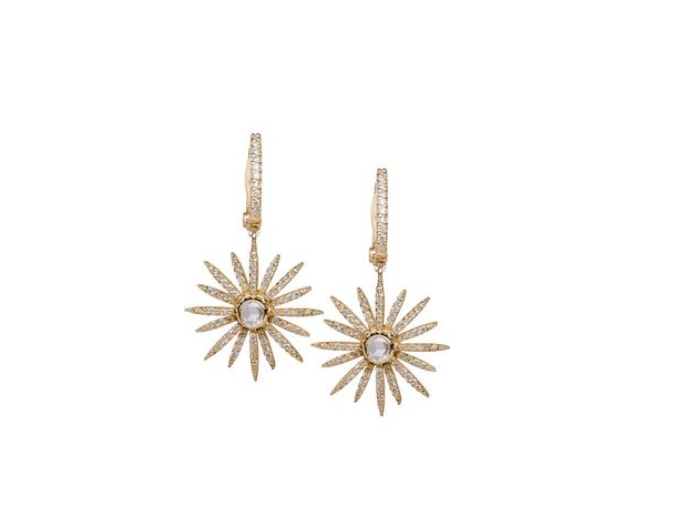 14K Yellow Gold and Diamond Starburst Earrings Designer: EF Collection