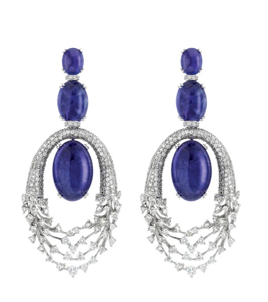 Luminus earrings in18K White Gold with Diamonds and Tanzanites. Designer: Hueb
