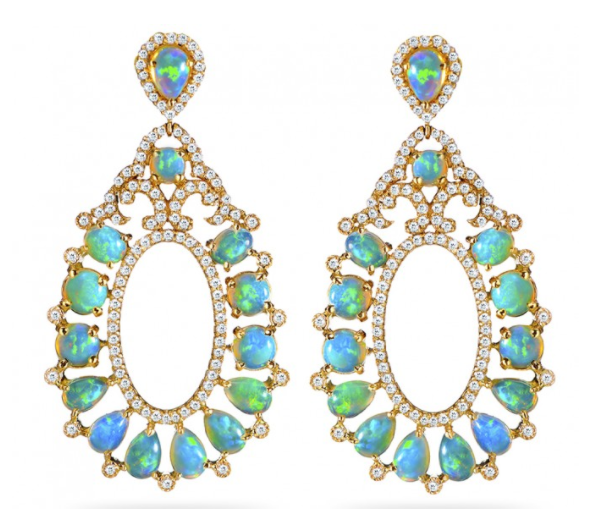 18K Yellow Gold, Opal and Diamond Earrings. Designer: Haridra NY
