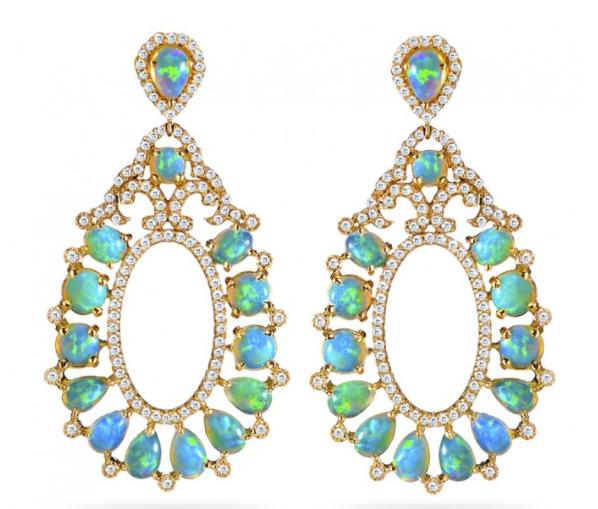18K Yellow Gold, Opal and Diamond Earrings. Designer: Haridra NY
