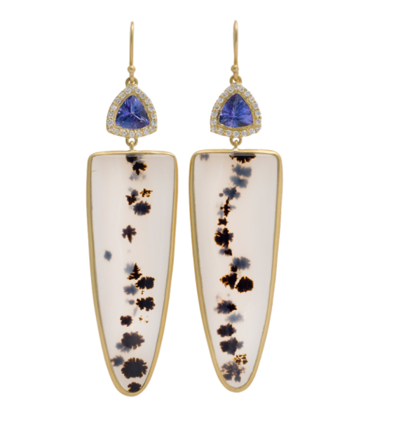 Tanzanite, Dendritic Agate and Diamond earrings set in 18K Yellow Gold. Designer: Kothari. Sold By Betteridge