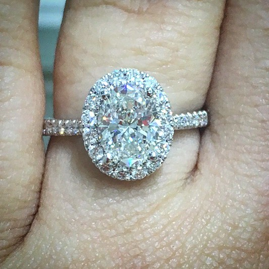 Custom Oval Cut Diamond Halo Ring